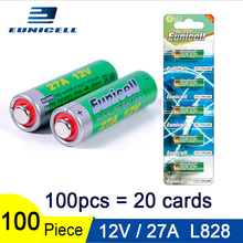 100pcs=20 Cards 12V 27A Dry Alkaline Battery 27AE 27MN A2 L828 V27GA EL812 A27 MN27 G27A Eunicell 50mAh High Voltage Batteries