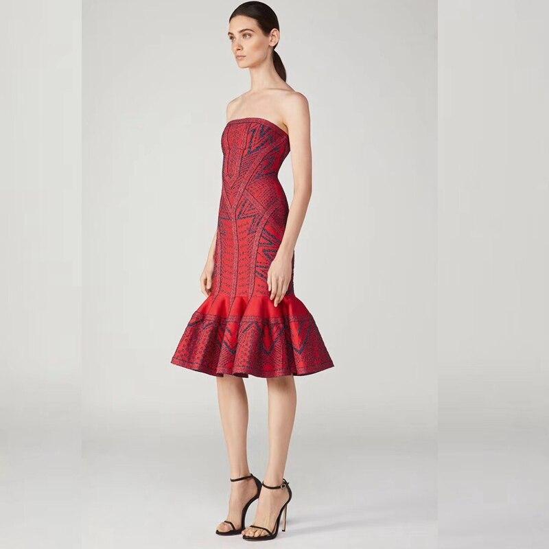 Fête 2018 Sirène Imprimer Eelgant Gros Nuit Dos Whin En Robes Nu Femmes Clubwear Celebrity Sexy De La Bretelles Rouge Sans rAgrxWwqT