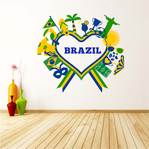 Heart Shaped Brazil Brasil Wall Sticker Fantastic Wall Quote Wall Art Decal Sticker Home Decor Removable Fashion Wedding Decor