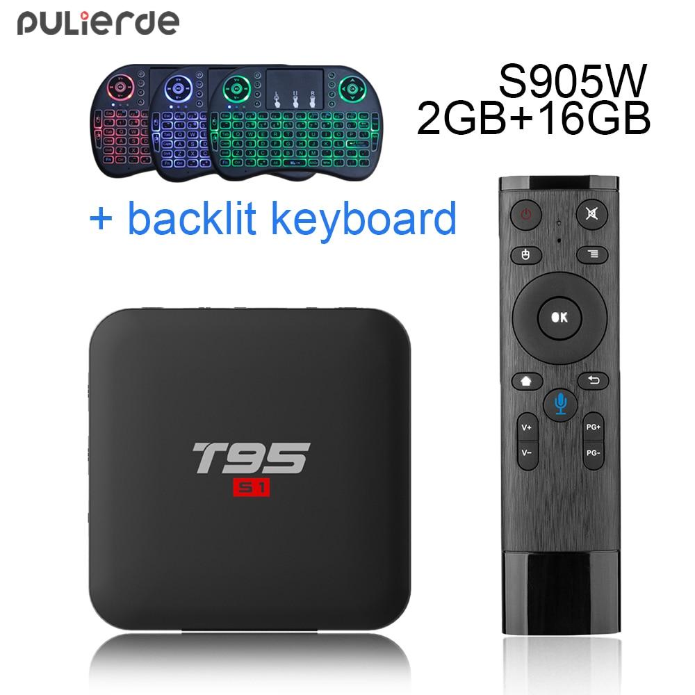 PULIERDE T95 S1 Android 7.1 TV BOX 2 gb 16 gb Amlogic S905W Quad Core 2.4 ghz WiFi Media Player smart Box Voix Télécommande 4 k