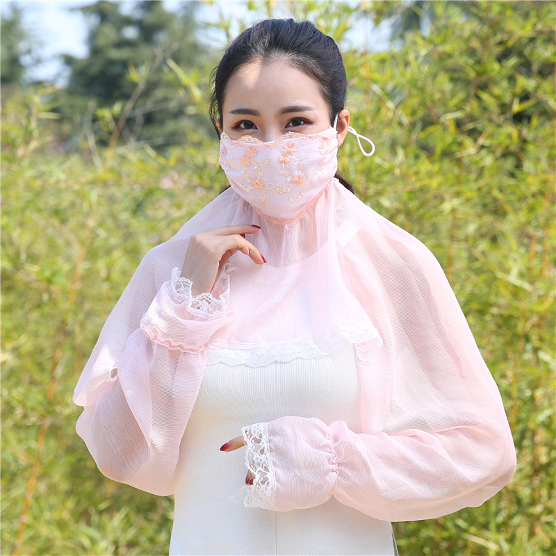 MIARA.L Sunscreen Chiffon Shawl Mask Sleeve Three-in-one Spring And Summer Women Cycling Thin Breathable Dust Respirator