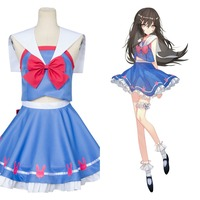 OW D.VA Hana Song Sailor Suit Uniform Cosplay Costume Outfit Dress Gown Full Set Costum