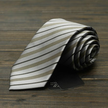 High Quality 2019 New Grey Striped Ties for Men 7cm Designer Fashion Brand Necktie Profession Interview Suit Mens Formal Tie(China)