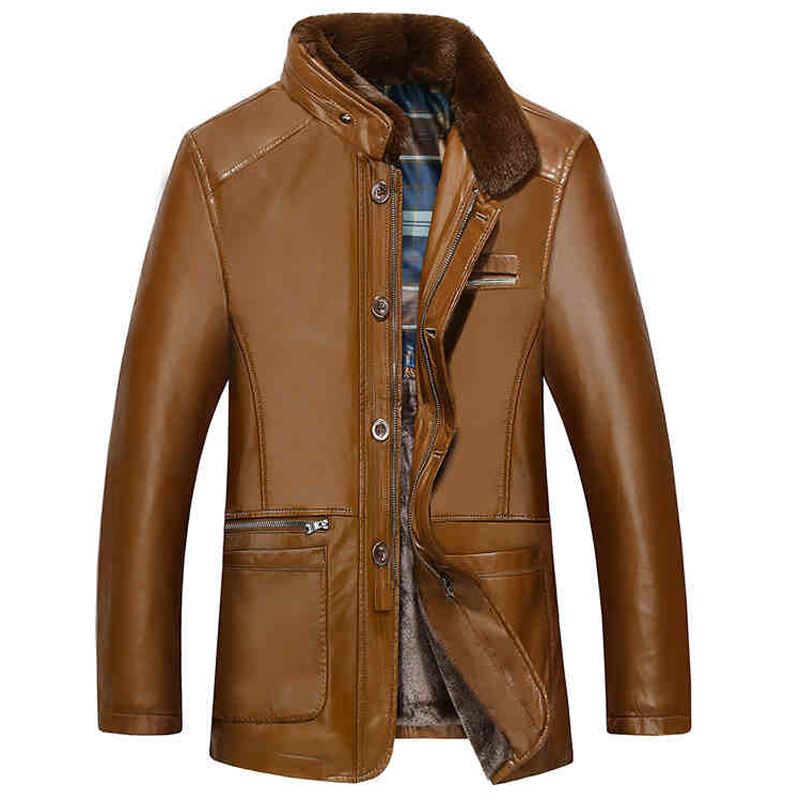 Winter Style Mens Fur Collar Leather Coats 8xl Plus Old Fashion Male Faux Fur Leather Jacket and Coats Warm Mens Clothes C1132