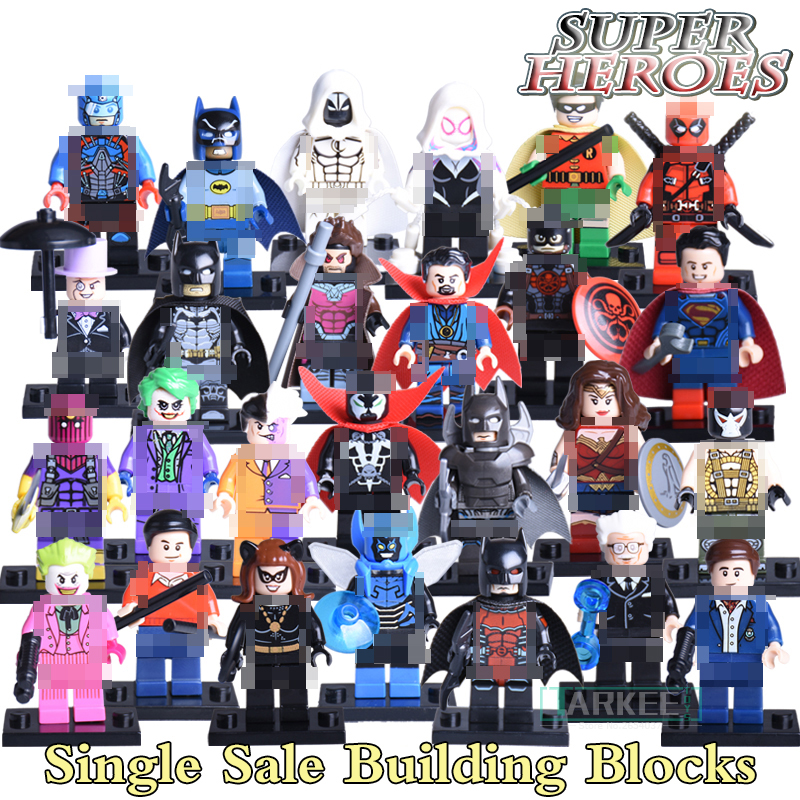 1pc Building Blocks Bricks Joker Doctor Strange Wonderwoman Baron Zemo Super Heroes X-man Avengers Batman Figures Kids DIY Toys