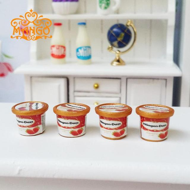 New1:12 Dollhouse Miniature Kitchen Furniture Accessories Food 4PCS Mini  HAAGEN DAZS Ice Cream Model