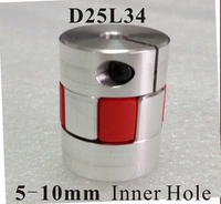 Motor Jaw Shaft Coupler Claw Type Flexible Coupling With Elastic Spider D25xL34mm Inner Hole 5 10mm