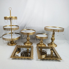 6PCS/ Set Acrylic Mirror Wedding 3 Tier Cupcake Display Gold Or Silver Metal Cake Stand