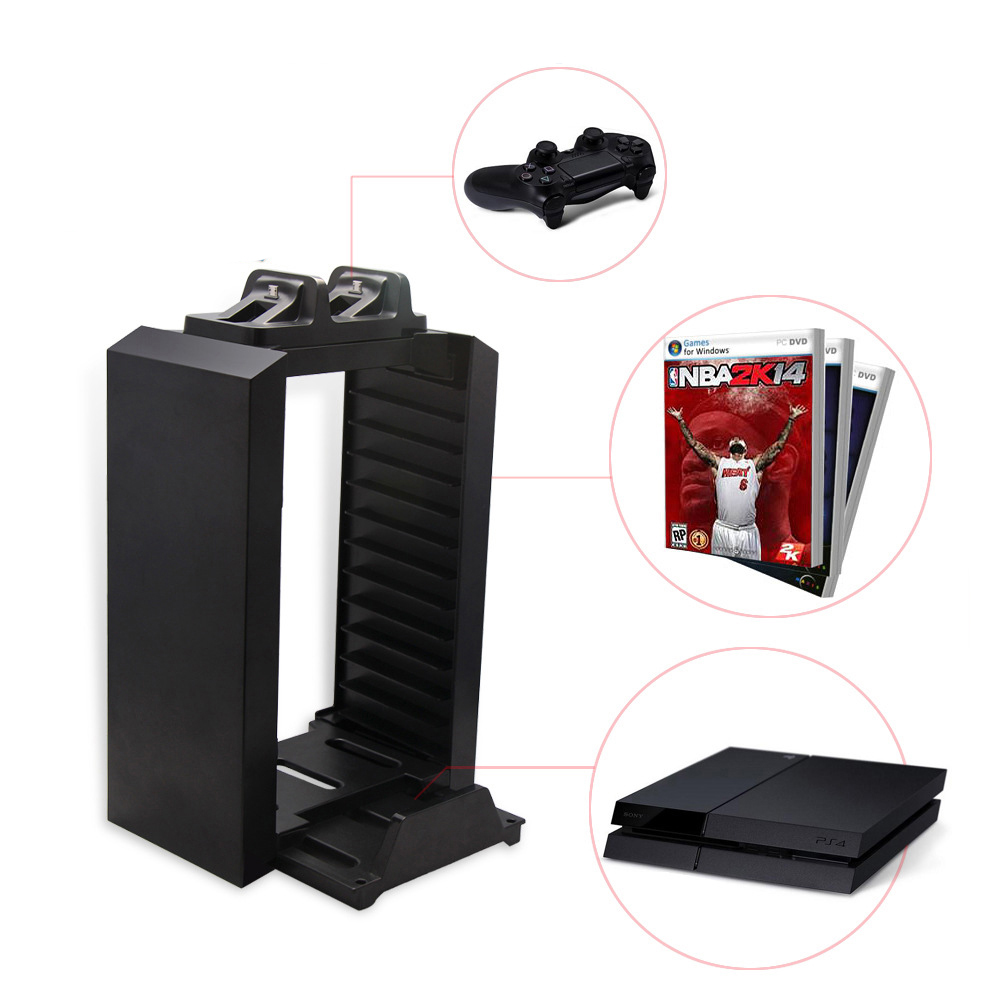 PS4/Slim/Pro/XboxOne S Charger Storage Tower with 12 Game Blue-ray disc storage and Dual Charger for PlayStation 4 Pro Console