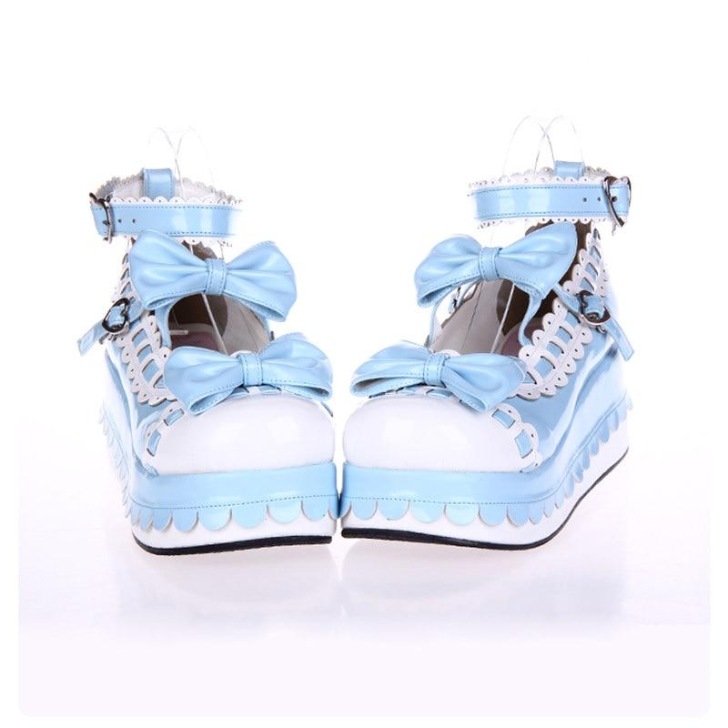 Księżniczka dziewczyny słodkie łuki buty na koturnie buty Lolita platformy zimowe buty wiele kolorów i rozmiarów dostępne w Buty damskie na słupku od Buty na  Grupa 2