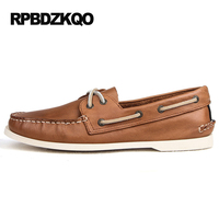 Boat Shoes Men Flexible Cow Split Tan Various Casual Shoes Men Embossed Leather Pure Color Dichotomanthes