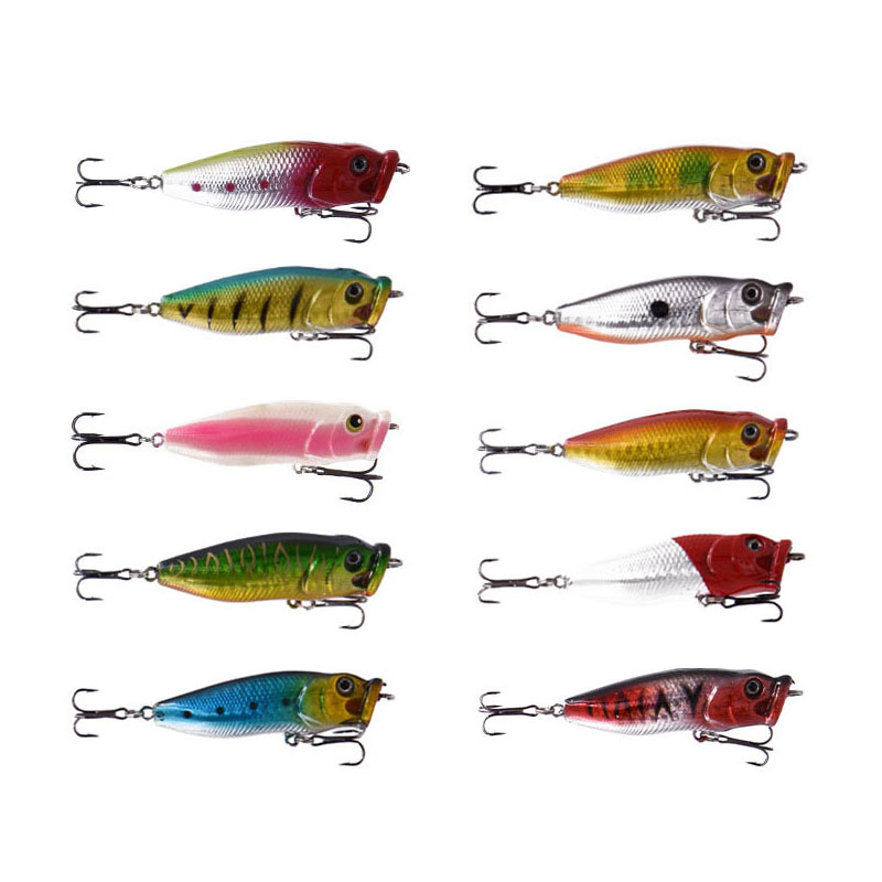10pcs 6.5cm 8g Popper Fishing Lure Topwater Surface Lures Deep Sea Fishing Bait Floating Lure Hooks Crank Baits Tackle Tool