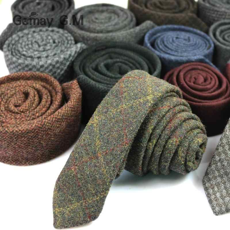Nuovo 100% di Lana cravatte Per gli uomini di Alta Qualità di Marca Stretto Slim Tie Plaid 5cm Mens Cravatta per la Cerimonia Nuziale Cravatte