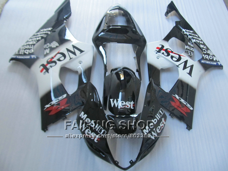 Injection mold 100% fit for Suzuki GSXR1000 03 04 K3 K4 west sticker black bodywork fairings set GSXR 1000 2003 2004 WT29 vehicle plastic accessory injection mold china makers