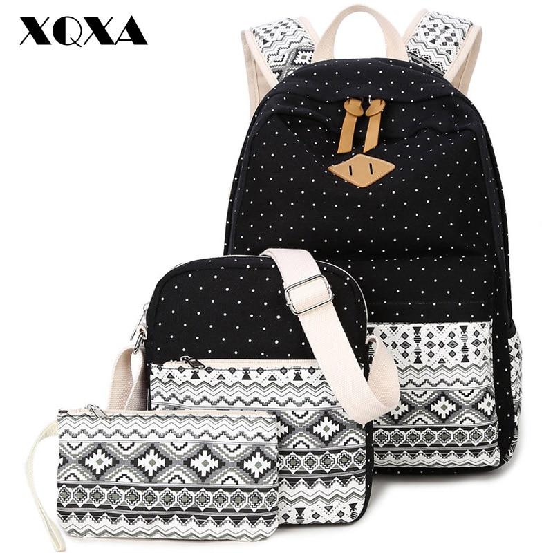 XQXA Canvas Women Backpack for School Teenagers Girls Vintage Stylish Ladies Bag Backpacks Female Dotted Printing
