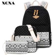 XQXA Leinwand Frauen Rucksack für die Schule Jugendliche Mädchen Vintage Stilvolle Damen Tasche Rucksäcke Weibliche Punktierte Druck Mochila 3 pics