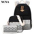 Xqxa canvas mulheres mochila para adolescentes meninas da escola do vintage senhoras elegantes saco pontilhada impressão mochila mochilas femininas 3 pics