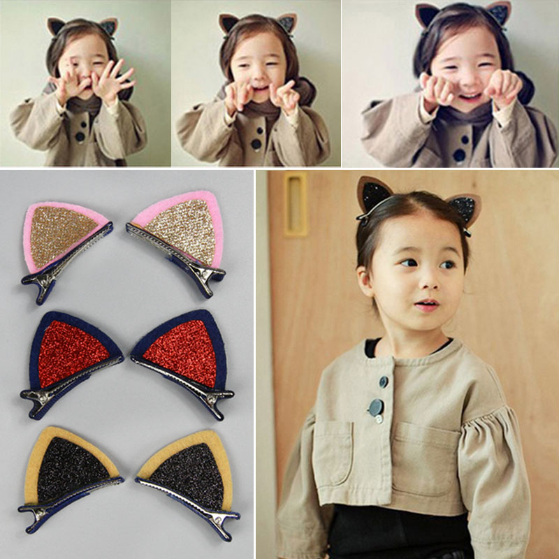 Magnificent2 Pcs Cat Ear Hairpin Toddler Girls Hair Clips Barrettes for Kids TOU