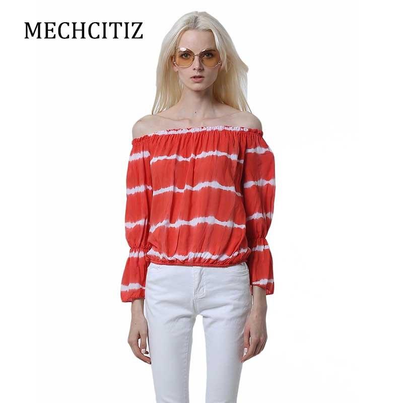 MECHCITIZ 2017 spring blouse Apparel Sexy slash neck ruffles women tops tees Off shoulder beach summer style tops Women shirt