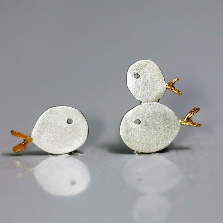 geekoplanet.com - 925 Sterling Silver Fish Family Stud Earrings
