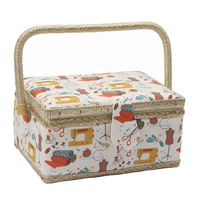 Sewing Pattern Cotton Fabric Storage Basket Sewing Kits Sewing Box Stationery Container with 40Pcs Sewing Tools  sc 1 st  AliExpress.com & Sewing Pattern Cotton Fabric Storage Basket Sewing Kits Sewing Box ...