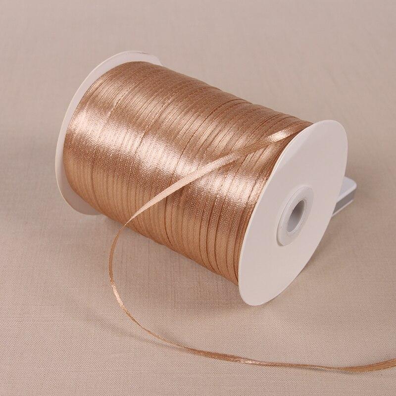 3 мм атласные ленты 22 м/лот DIY ручной работы товары для украшения свадьбы, дня рождения Подарочная упаковка белые ленты - Цвет: Light Brown