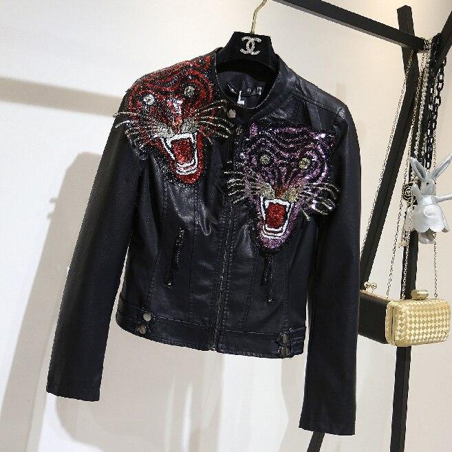 Biker Tigre Pu Court En Noir Souple Moto Brodé Mode Veste De Cuir Faux  Femme Manteau Femmes wAxTvYw aedd4a7d266f