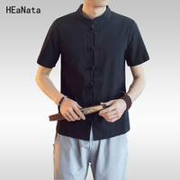 Black Tunic Chinese Tradition Linen Casual Men Kung Fu Shirt Top Summer Linen Cotton Short Sleeves 2018 Summer Big Size 5XL
