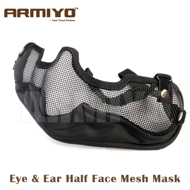Armiyo Gen 2nd Eye & Ear Airsoft Resistant Protective Equipment Lower Half Face Nylon Canvas Mesh Mask Hunting Accessories