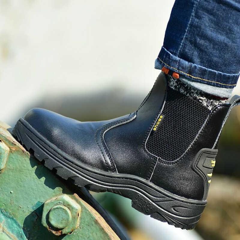 Britse mode heren plus size stalen neus werken veiligheid schoenen platform sneakers soft leather security enkellaars zapatos