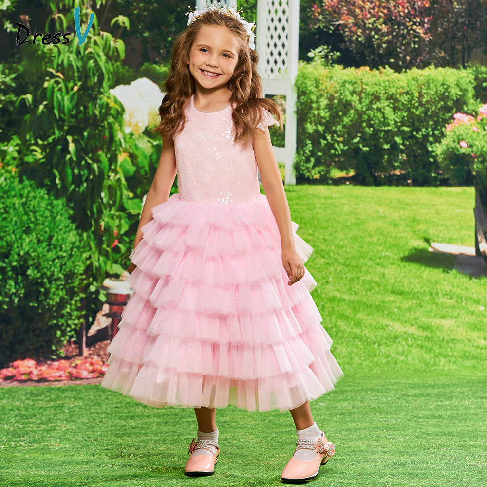 Dressv scoop neck   flower     girl     dress   tulle birthday party prom ball kid gowns with lace sequins tea length   flower     girl     dress