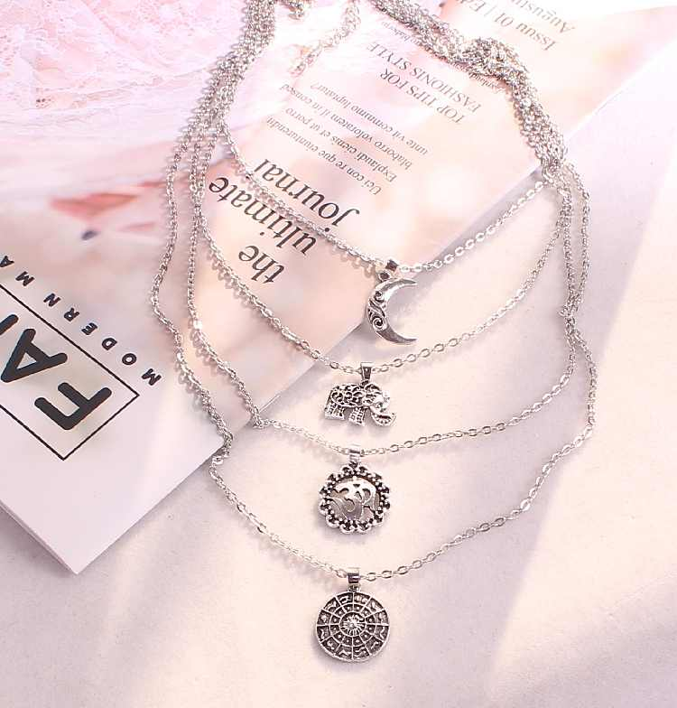 Hot Fashion Multi-element Bohemian Vintage Retro Elephant Moon Cobweb Long Statement Multilayer Chokers Necklaces Women Jewelry