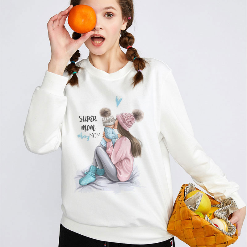 Winter Sudaderas Casual Vogue Super Mom Kawaii Graphic Pullover Tops Long Sleeve Women Hoodie Sweatshirt Female Coat