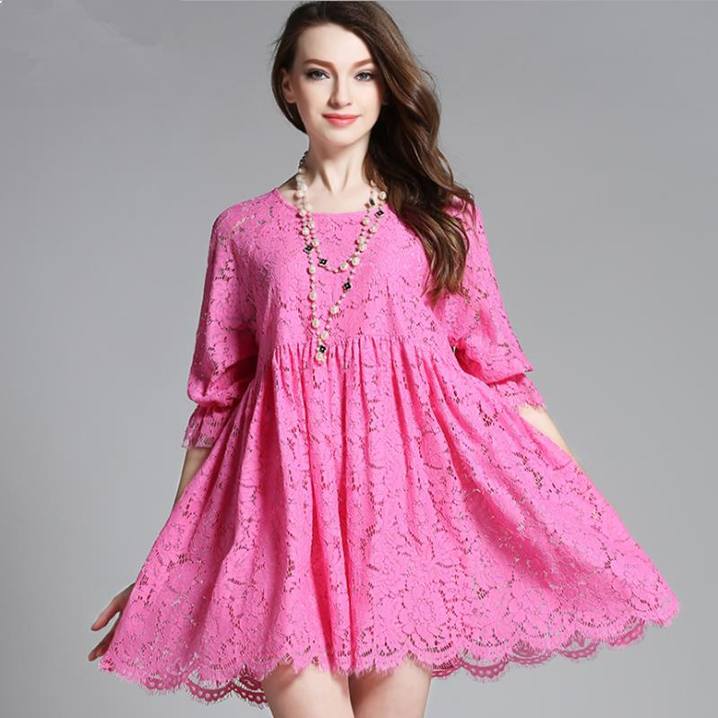 Buy Cheap 2017 Europe Summer Autumn Women half sleeve cute Loose ball gown hollow out Lace dress plus size xl xxl xxxl 4xl white rose pink
