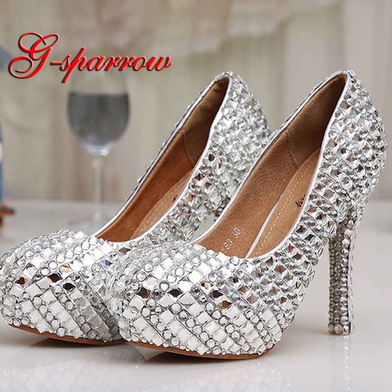 Womens High Heel Glitter Crystal Platforms Wedding Shoes Diamond Jeweled Silver Bridal Shoes 12cm Cinderella Prom Evening Pumps