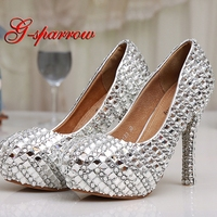 Womens High Heel Glitter Crystal Platforms Wedding Shoes Diamond Jeweled Silver Bridal Shoes 12cm Cinderella Prom Evening Pumps