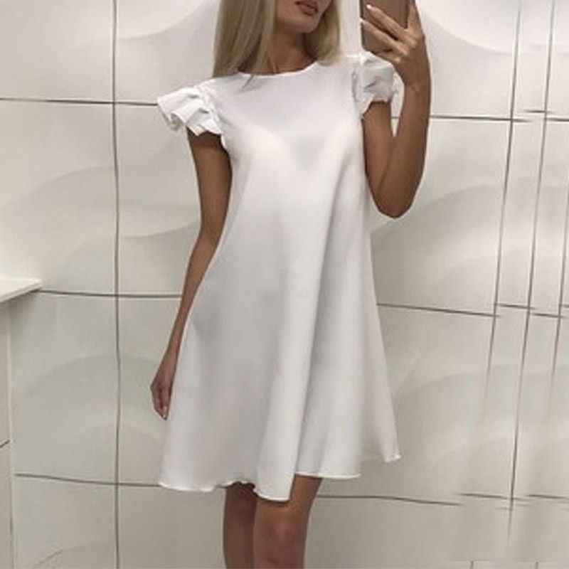 Alta calidad mujeres verano Sexy vestido arrugas mangas de loto vestido Casual por encima de la rodilla Mini vestido Vestidos nuevos