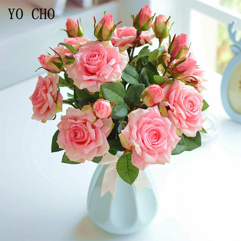 YO CHO Bride Wedding Bouquet Real Touch Rose Flower Artificial Silk Rose Marriage Supplies DIY Home Wedding Party Flower Decor