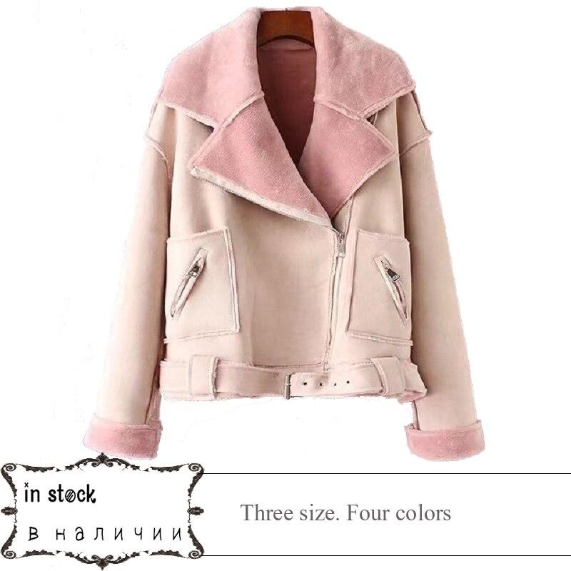 2017 Lika Rulla Top Brand Manmade Fur collar New Fashion Ladies Suede Jacket Basic Street Women Short PU Leather Jacket
