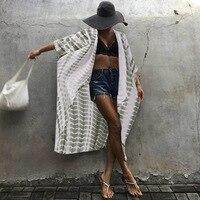 ZANZEA 2018 Summer Spring Women Blouse Outerwear Open Front Long Shirts Striped Print Oversized Blusa Sexy