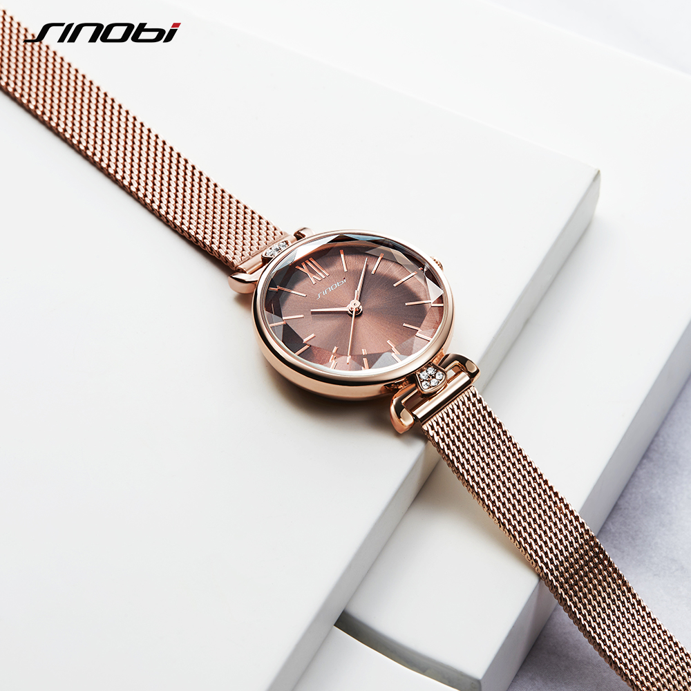 Shengke New Arrive Womens Blue Watches Luxury Ladies Watch Leather Band For Women Fashion Diamond Cutting Glass Reloj Mujer