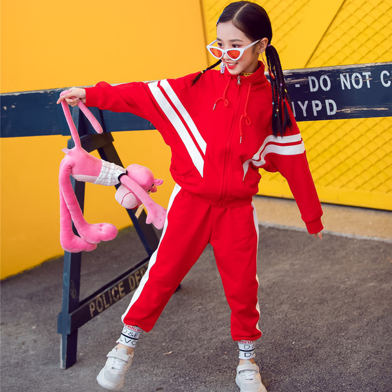 New Spring Girls Clothing Sets Teenage Autumn Tracksuit Kids Plus Size Sportswear Girls Suit Costume Sports Cotton Suits CA589