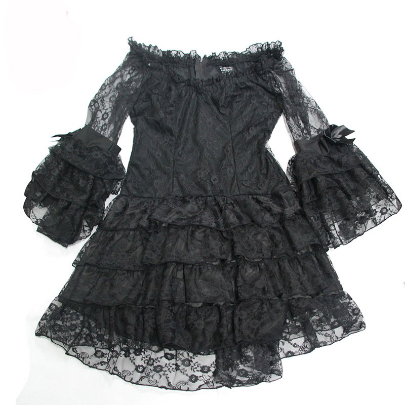 Black Layered Floral Lace Ruffles Bows Flare Sleeve Victorian Gothic Dress  Vintage Dresses Women Plus Size Steampunk Clothing