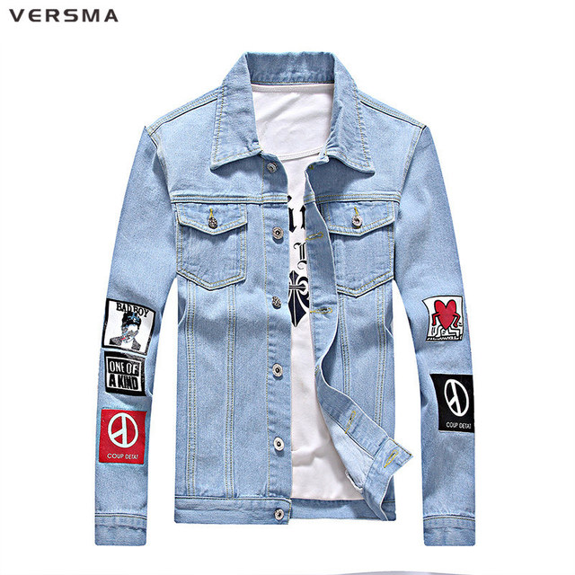 4ce4e3c00 VERSMA Fashion Harajuku G-dragon One of A Kind Denim Jacket for Boys Mens  Bad Boy Shirt Jeans Men Clothes Denim Shirt Boys 5XL