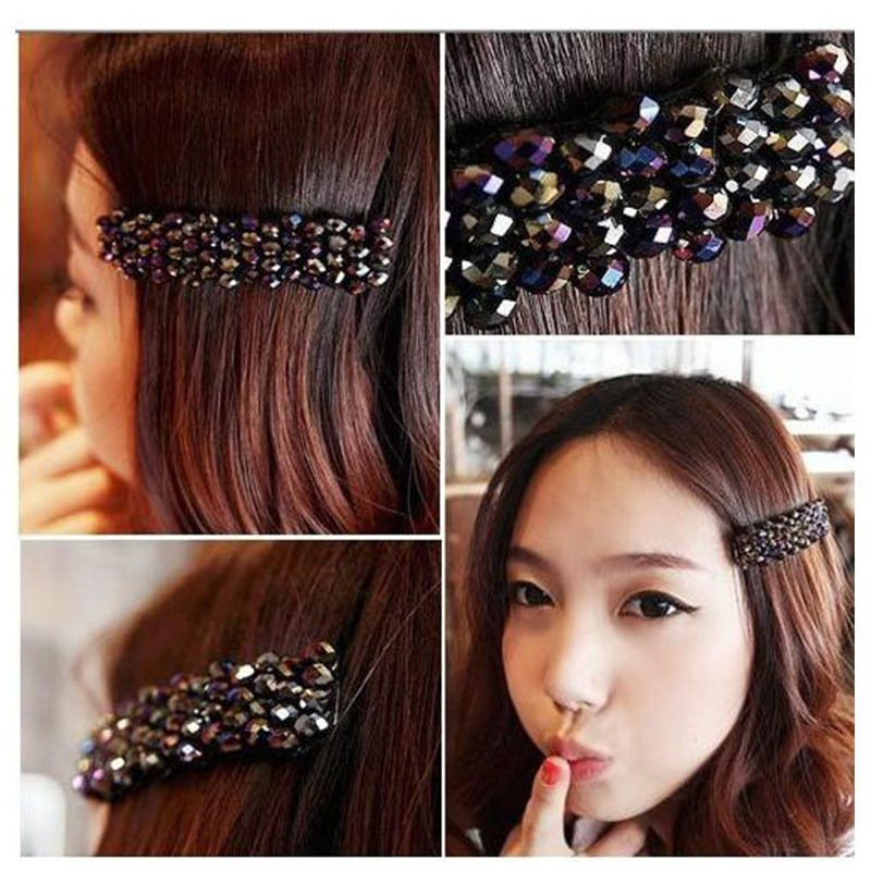 HTB1RE45JFXXXXbhXXXXq6xXFXXXK Women's Sparkling Rhinestone Crystal Beads Hair Clip Barrette - 6 Colors