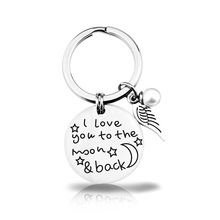I love you to the moon and back Personalized Custom Keychain for Mam Kids Car Key Chain Women Wing Chains Rings with letters