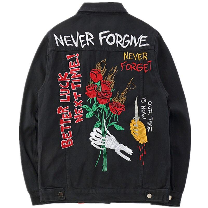 Haute qualité automne décontracté Rose broderie crâne Denim veste manteau hiver hommes coton lâche Streetwear noir Jean veste Hip Hop