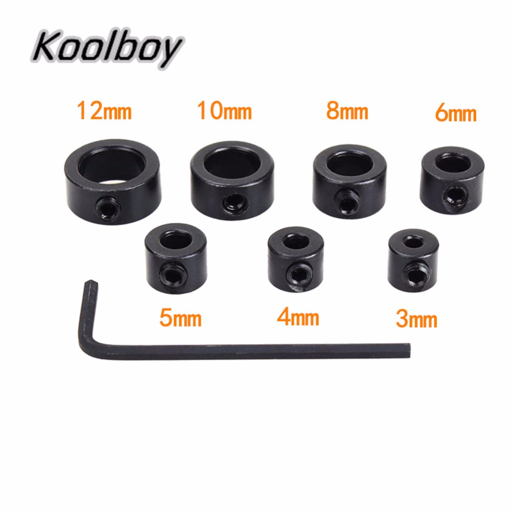 7Pcs 3-12mm Drill Bit Set Depth Stop Collar Ring Positioner Spacing Ring Woodworking Drill Bit Hex Wrench