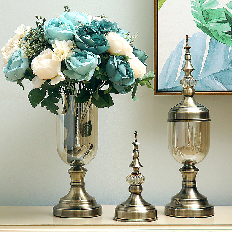 Europe Luxury Crystal Glass Vase Figurine Home Furnishing Craft Decoration Ornament Modern Classical American Flower Arrangement