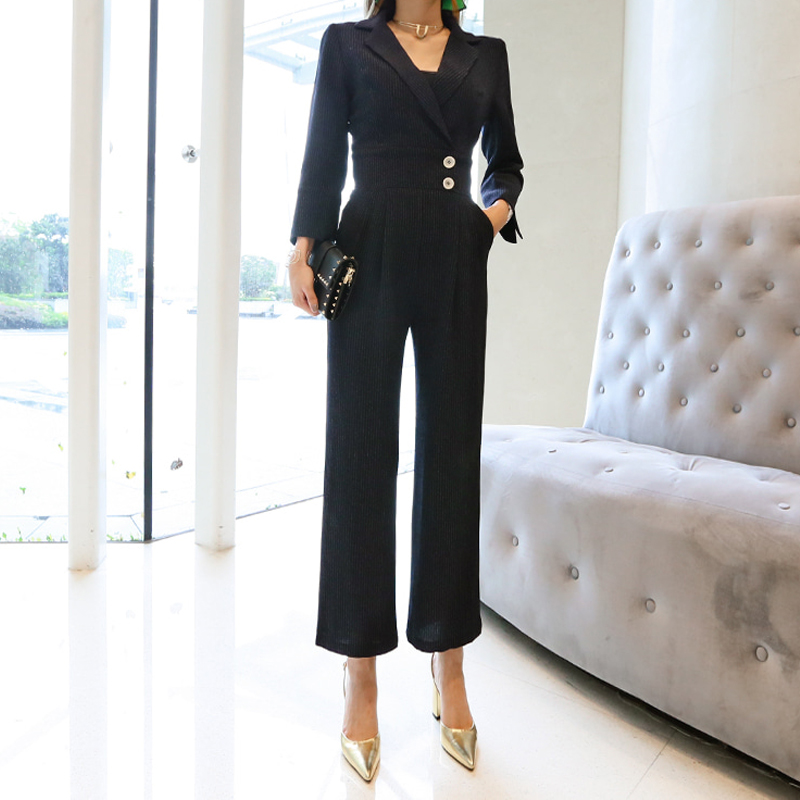 Work 2019 piece High Women Autumn Zawfl Full neck V Picture Striped Overalls Cloth Black Color Official Sexy Jumpsuit Sleeve Quality One TPqg1X